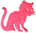 7/8'' by 7/8'' Hot Pink Cat Applique7/8'' by 7/8'' Hot Pink Cat Applique