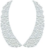 8 3/8'' by 2 7/8'' White Venice Lace Collar Set - Left/ Right8 3/8'' by 2 7/8'' White Venice Lace Collar Set - Left/ Right