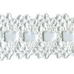 1 1/4'' Cotton Beading Lace Trim - White, Natural1 1/4'' Cotton Beading Lace Trim - White, Natural
