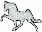 1 1/4'' by 1'' White Horse Applique1 1/4'' by 1'' White Horse Applique