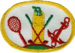 2 7/8'' by 2'' Iron On Sports Patch - Yellow, Red2 7/8'' by 2'' Iron On Sports Patch - Yellow, Red