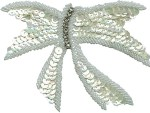 5 1/8'' by 3 7/8'' Beaded & Sequined Bow Applique5 1/8'' by 3 7/8'' Beaded & Sequined Bow Applique