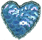 1 1/8'' by 1 1/8'' Beaded & Sequin Heart - 8 Colors1 1/8'' by 1 1/8'' Beaded & Sequin Heart - 8 Colors