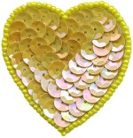 1 7/8'' by 2'' Yellow Beaded & Sequined Heart Applique with Pin Back1 7/8'' by 2'' Yellow Beaded & Sequined Heart Applique with Pin Back