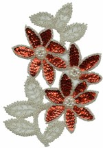 5 1/2'' by 7 1/4'' Beaded & Sequined Applique - Red5 1/2'' by 7 1/4'' Beaded & Sequined Applique - Red