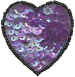 1 3/4'' by 1 3/4'' Beaded & Sequined Heart Applique - Purple, Fuchsia1 3/4'' by 1 3/4'' Beaded & Sequined Heart Applique - Purple, Fuchsia