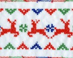 4 3/8'' White Flannel with Reindeer Embroidery4 3/8'' White Flannel with Reindeer Embroidery