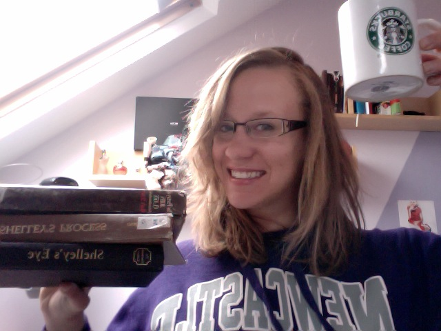 Glamour shot. Pajamas, books, coffee. Sums it all up.