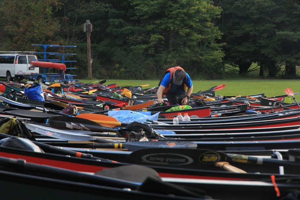 All the canoes were lined up and waiting for their teams. Ours was red, which is fast.