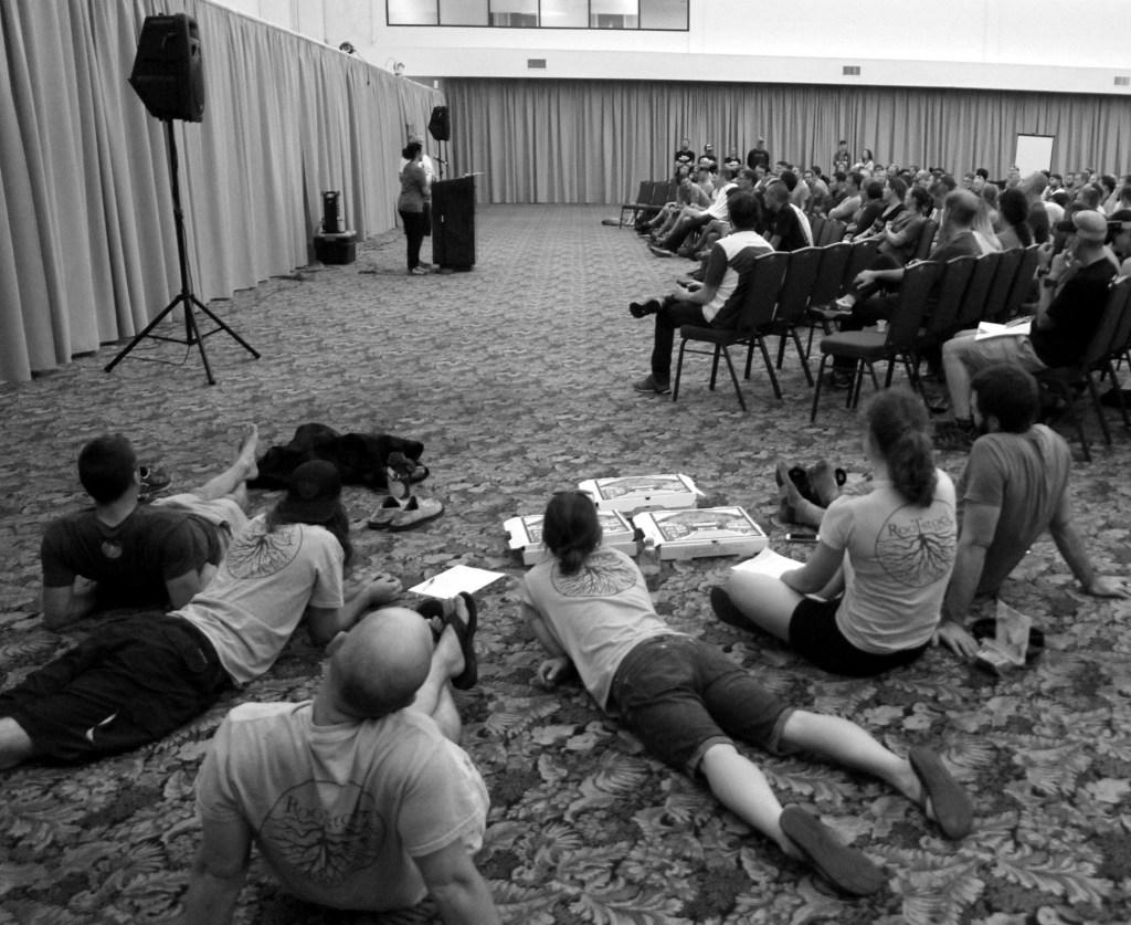 Athletes meeting at Split Rock Resort.