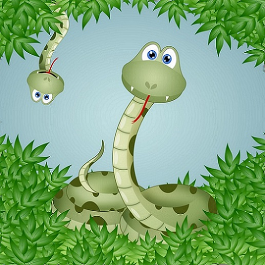 """Funny snakes in leaves."""