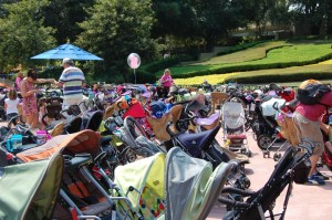 This is a typical group of strollers outside a ride....