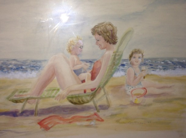 This painting of my Grandmother's hangs in my room.  I can relate to it because the mom is at the beach with two children and apparently her ass is so enormous that it is threatening to bust through the chair.