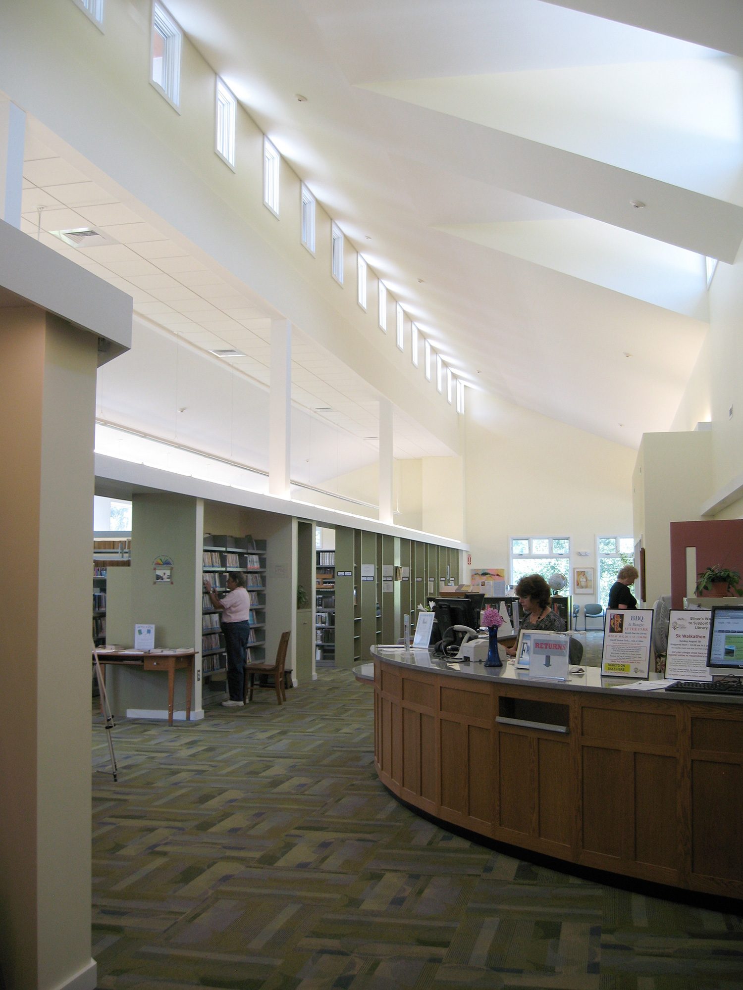 Roe Jan Library interior showing the circulation desk we built. Copake, NY.