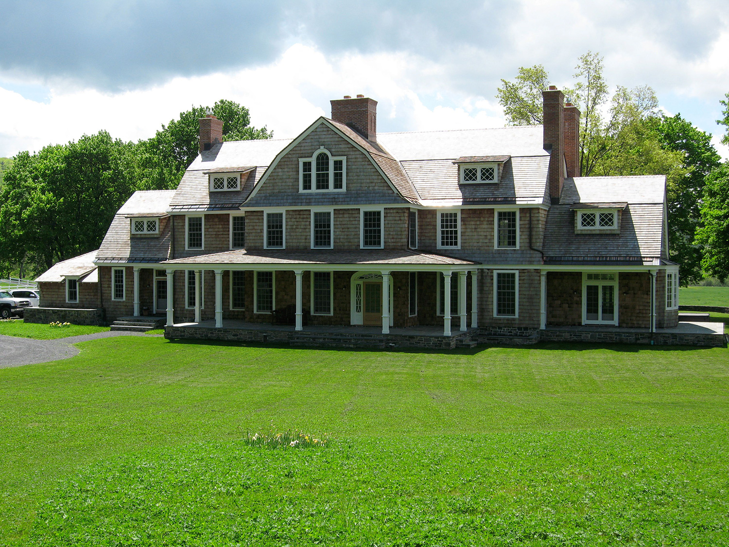 Gambrel Shingle Estate in color. Hillsdale, NY.