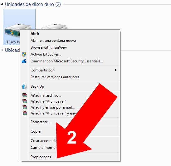 Comprimir una partición en Windows 7 (2)