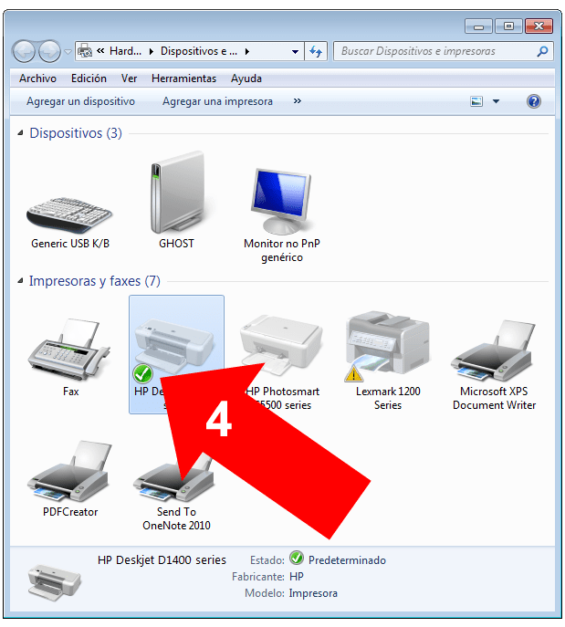 Impresora predeterminada en Windows 7