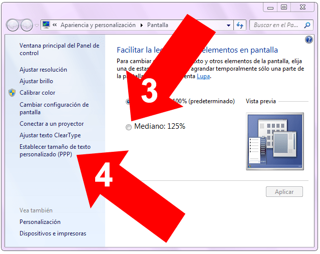 DPI en Windows 7