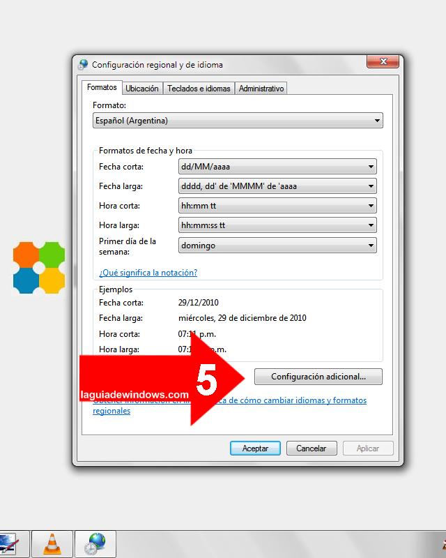 Poner texto al lado del reloj en Windows 7