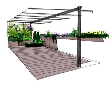 Terraza peque a con mucho encanto la habitaci n verde for Choza de jardin de madera techo plano