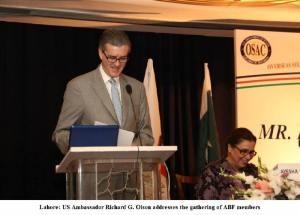 US Ambassador Richard G Olson addressing the gathering