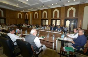 Former Prime Minister & PML-N president Muhammad Nawaz Sharif chairs a meeting of Central Parliamentary Board, former CM Punjab Muhammad Shahbaz Sharif is also present.