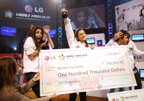Sisters from Panama, Cristina and Jennifer Sales Ancines win the 2011 LG Mobile World Cup in NYC.