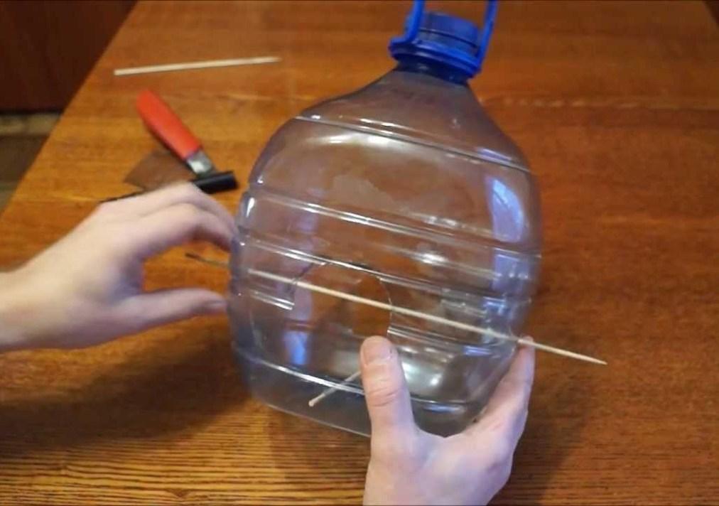 кормушка из пластиковой бутылки с веткой