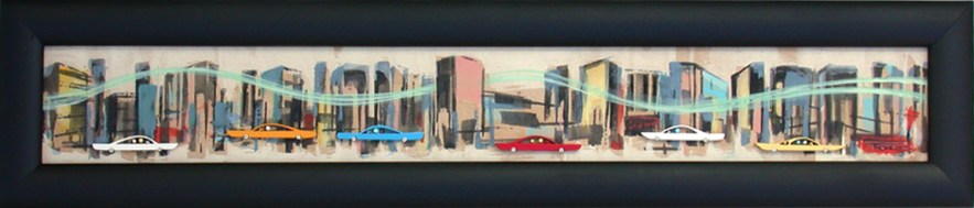 3 x 23.5 in. / 5.5 x 26 in. frame, Acrylic on cut and shaped masonite $600.00 Sold