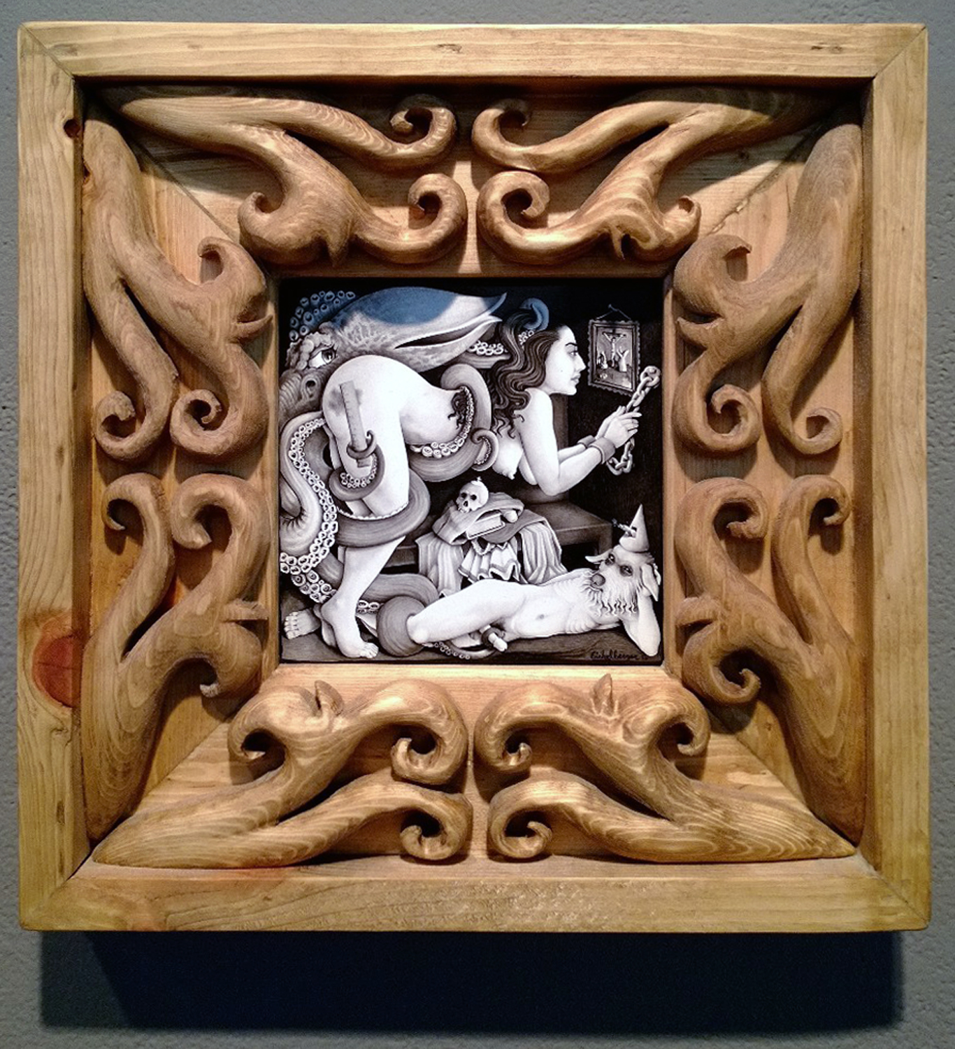 Brushed ink & pyrography, 6 x 6 in. (in 12.25 x 12.25 in. hand carved frame) $650.00 Sold