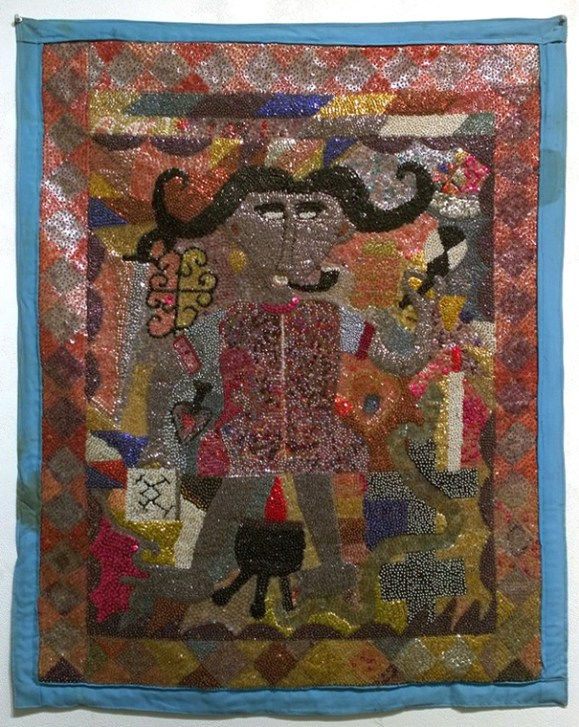 Fabric, sequins, and beads, 32 x 40 in. $4,000.00