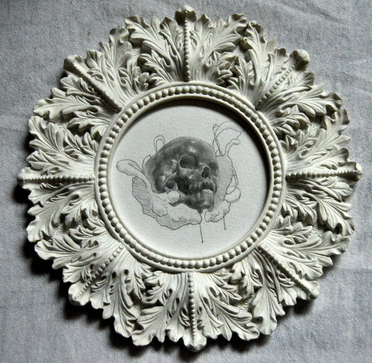 "Adrian Cherry - MeltGraphite on watercolor paper, 4"" diameter (7.5"" diameter framed) $150"