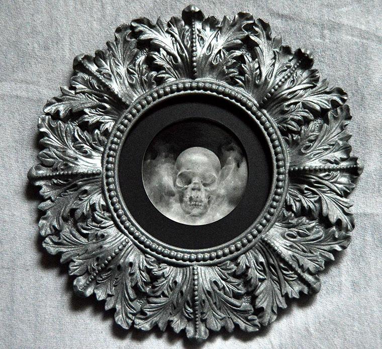 """Adrian Cherry - MurkyGraphite on bristol paper, 4"""" diameter (7.5"""" diameter framed) $150"""