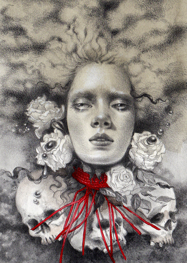 """Jel Ena - The FatesGraphite, color pencil, watercolor on hand-toned Fabriano paper, 5x7"""" (8x10"""" framed) $350"""