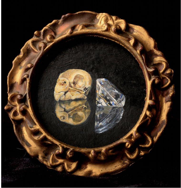 "Jinx - The Last JewelAcrylic on board, 5"" diameter framed, $100"