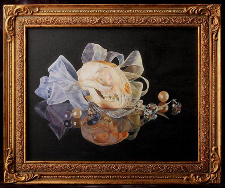 "Jinx - A Beautiful DeathAcrylic on board, 17x14"" framed, $400"