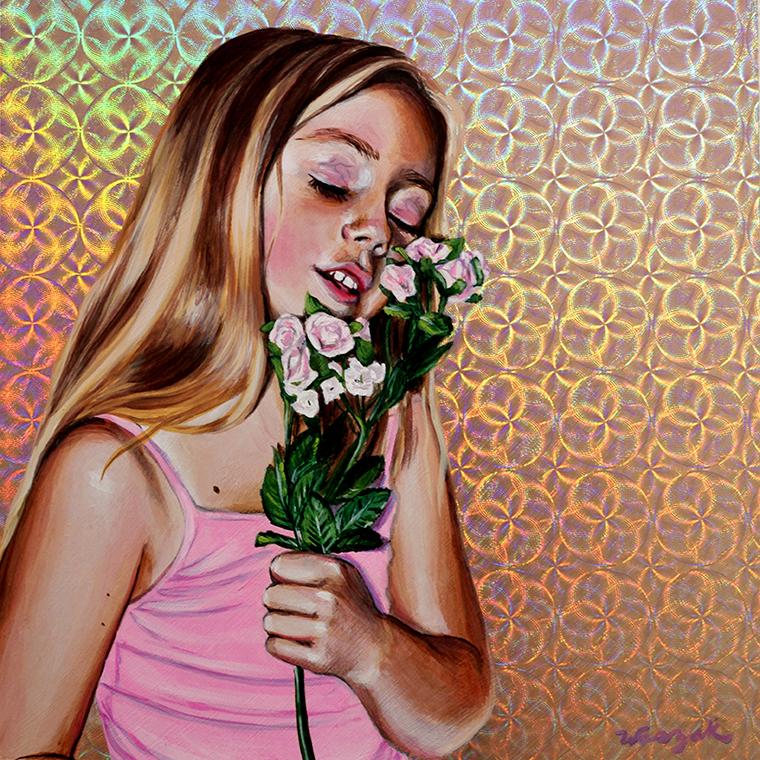 "Nicole Waszak - Garden of Delight Part 1Acrylic on holographic paper on wood panel, 8x8"", $300"