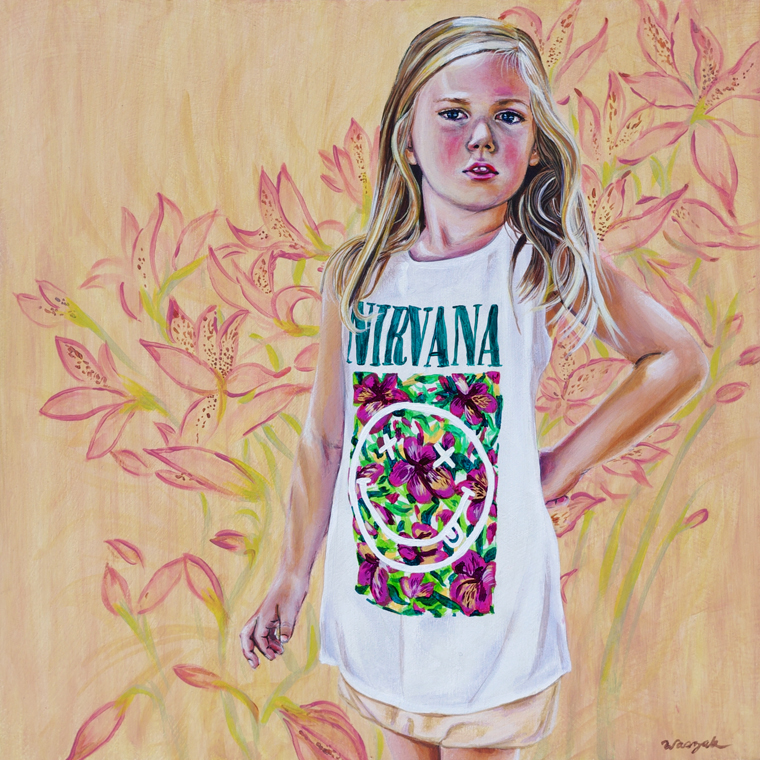 "Nicole Waszak - Smells Like Tween SpiritAcrylic  on wood panel, 12x12"", $350"