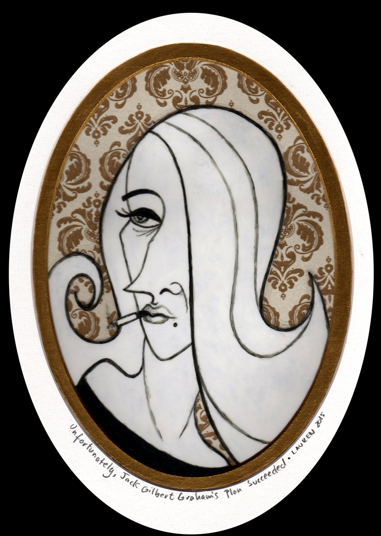 "Lauren Gardiner - Unfortunately, Jack Gilbert Graham's Plan SucceededAcrylic on transparency, patterned paper, 5x7"" (10x12"" framed), $75"