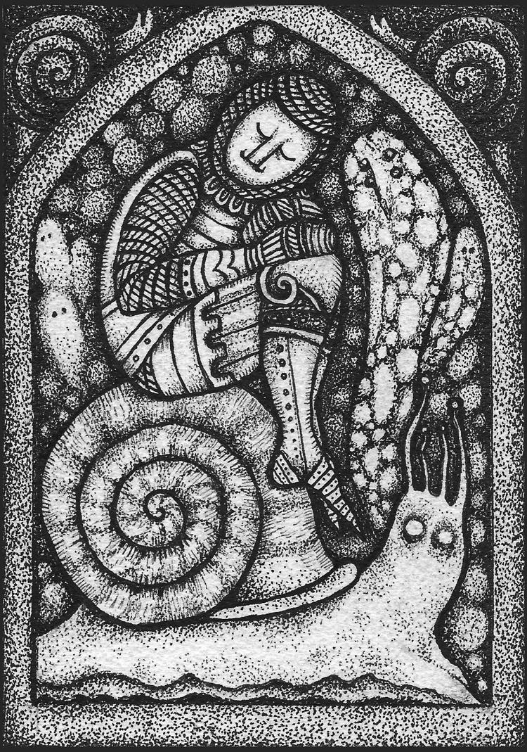 """Maya Peterpaul - Pilgrimage 4Ink on paper, 4.25x6.25"""", $100"""