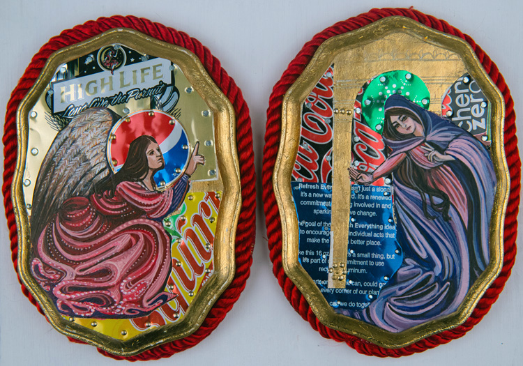 "Kimberly Zsebe - The Annunciation-Cherry Zero (Diptych)Egg tempera, beverage cans on board, 5x7"" (x2) $400"