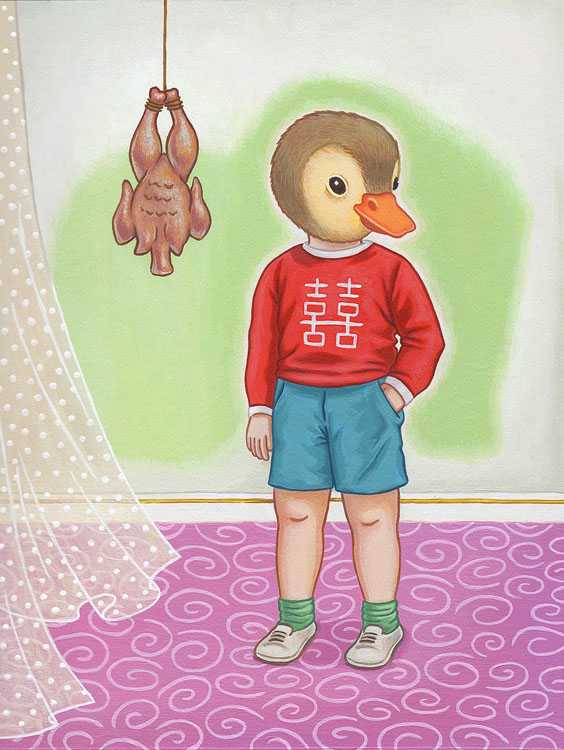 "Ming Ong - Duck BoyAcrylic on illustration board, 6.5x8.5"", (16x13"" framed), $325"