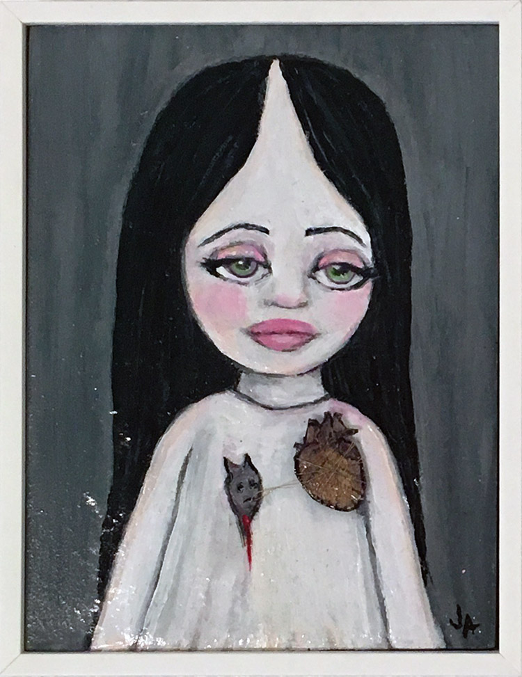 "Jessicka Addams - Alyx Acrylic and mixed media on panel, 6.75x8.75x1.25"" $600"