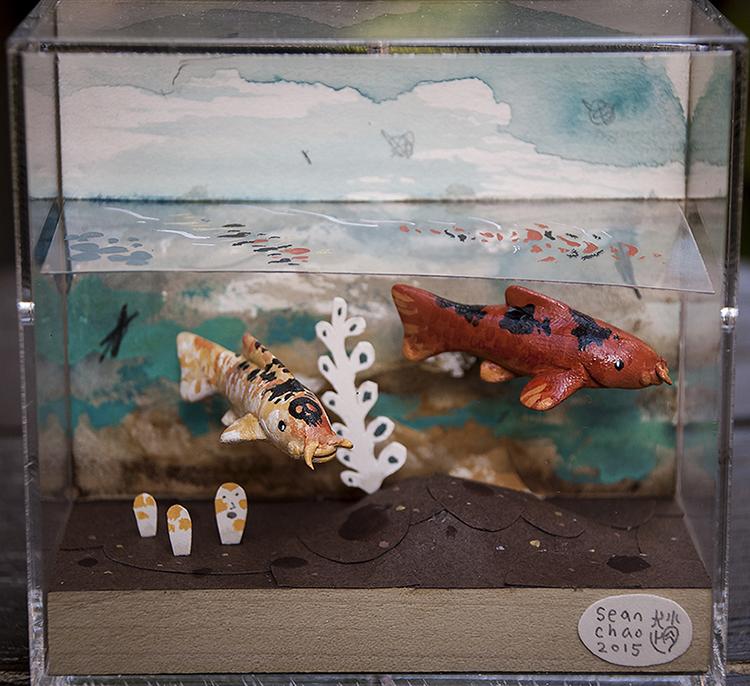 "Sean Chao - Koi (Skull)paper, polymer clay & acrylic, 4.25x3.75x2.25"", $200"