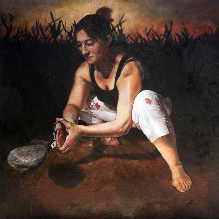 "Mark Gleason - Certitude Oil on canvas, 30x30"" framed, $4,500"