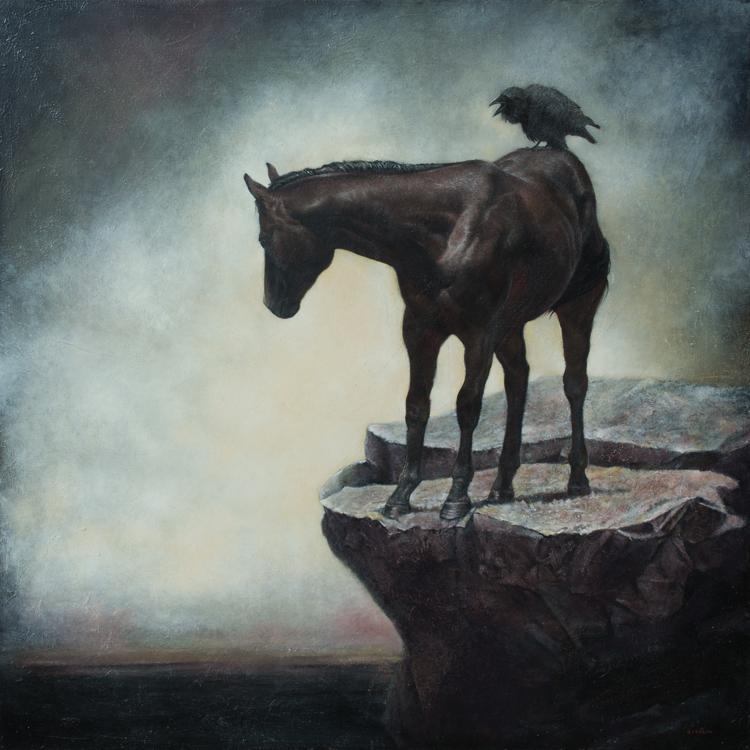 """Mark Gleason - Conversation Oil on canvas, 38x38"""" framed, $5,000"""