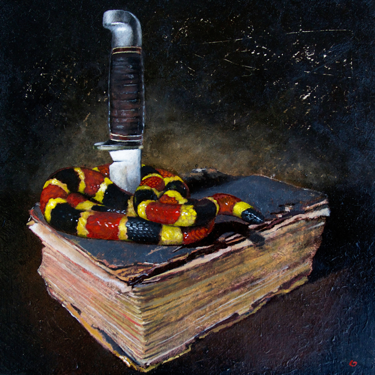 "Mark Gleason - Coral Snake Oil on board, 8x8"" framed, $800"