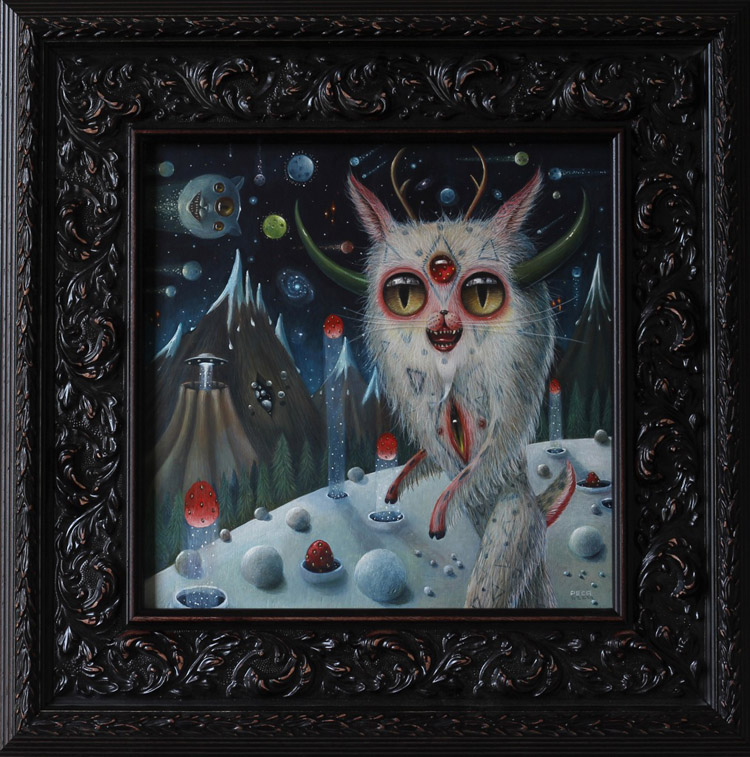 "Peca  - BeatOil on woodenboard, 12x12"" (18x18"" framed) $1500"