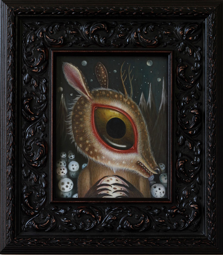 "Peca  - EclipseOil on woodenboard, 7x9.5"" (14.5x16"" framed) $750"