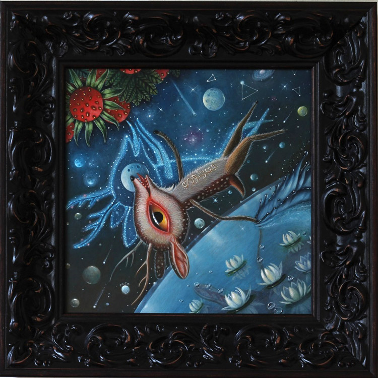 "Peca  - OrbitOil on woodenboard, 12x12"" (17x17"" framed) $1500"